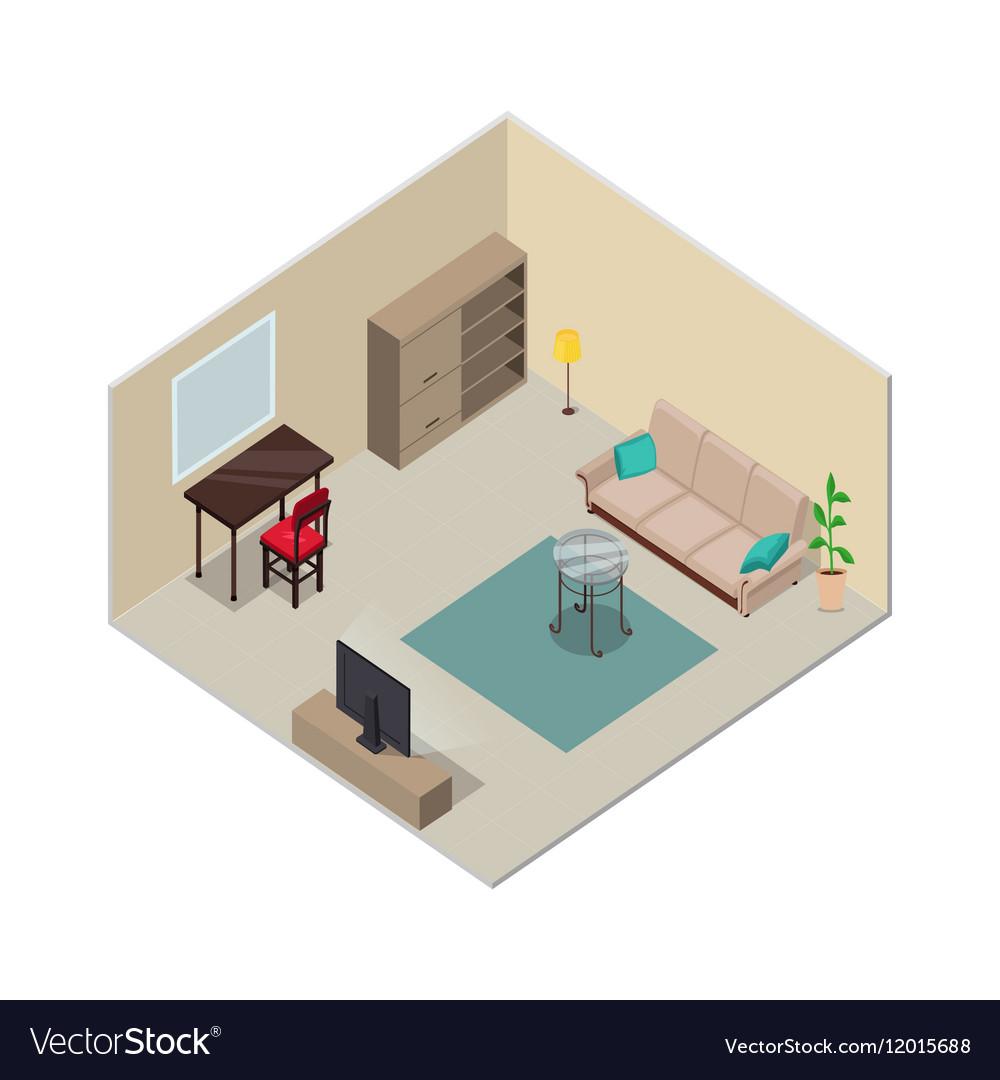 Isometric Interior Design Living Room Furniture Vector Image