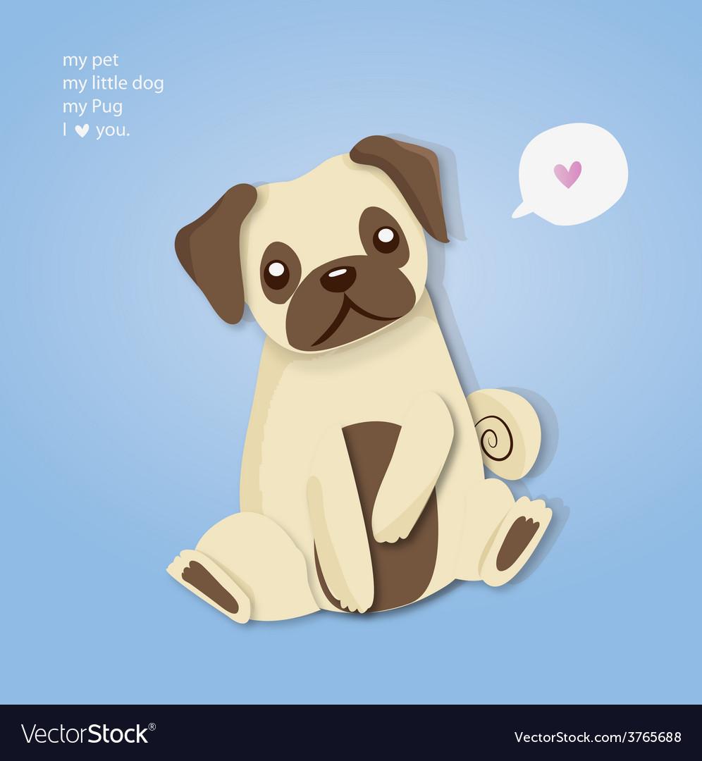My pug cute vector image