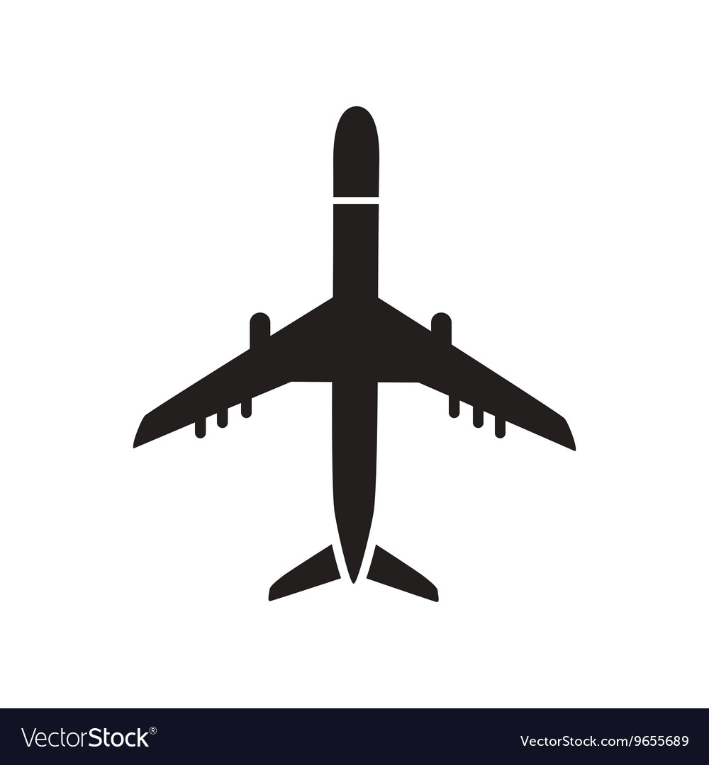 Flat icon in black and white style travel airplane