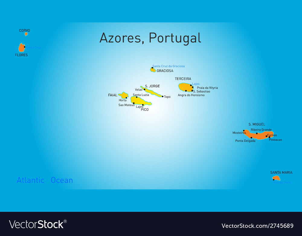 Map Of Azores Royalty Free Vector Image VectorStock - Portugal map azores