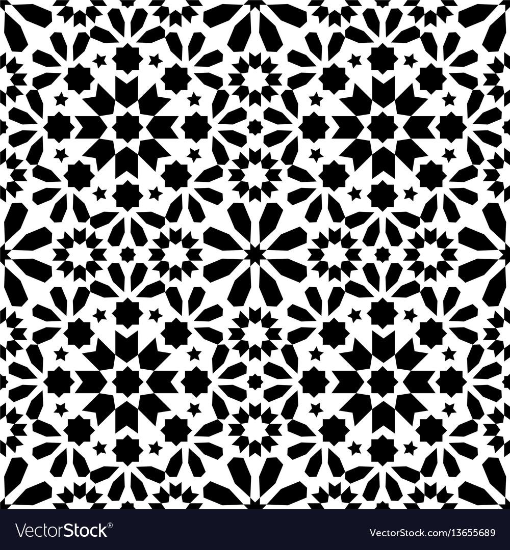 Spanish moroccan tiles tile pattern - black Vector Image