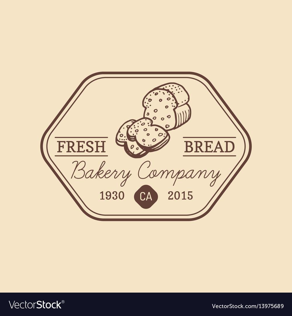 Vintage fresh bread logo retro hipster vector image