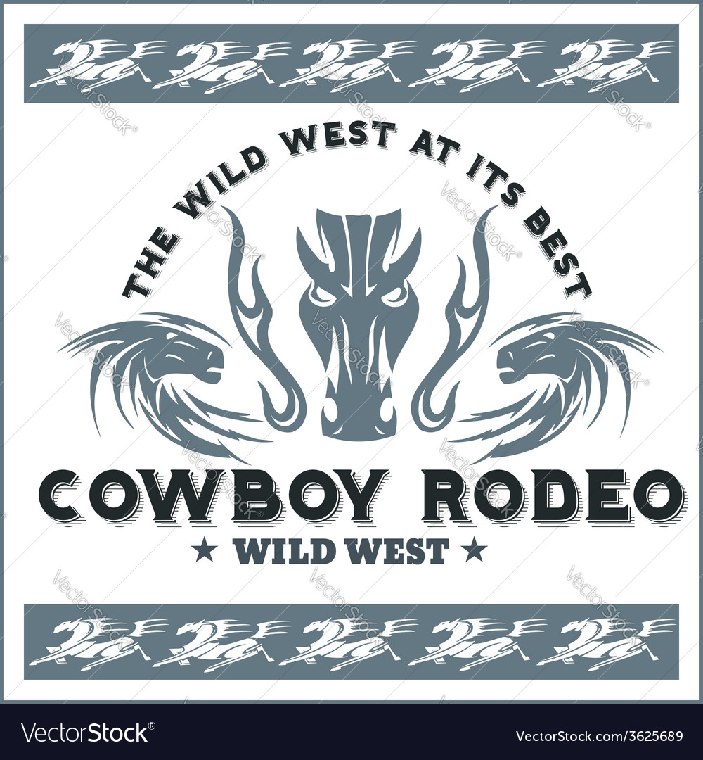 Wild west - cowboy rodeo emblem vector image