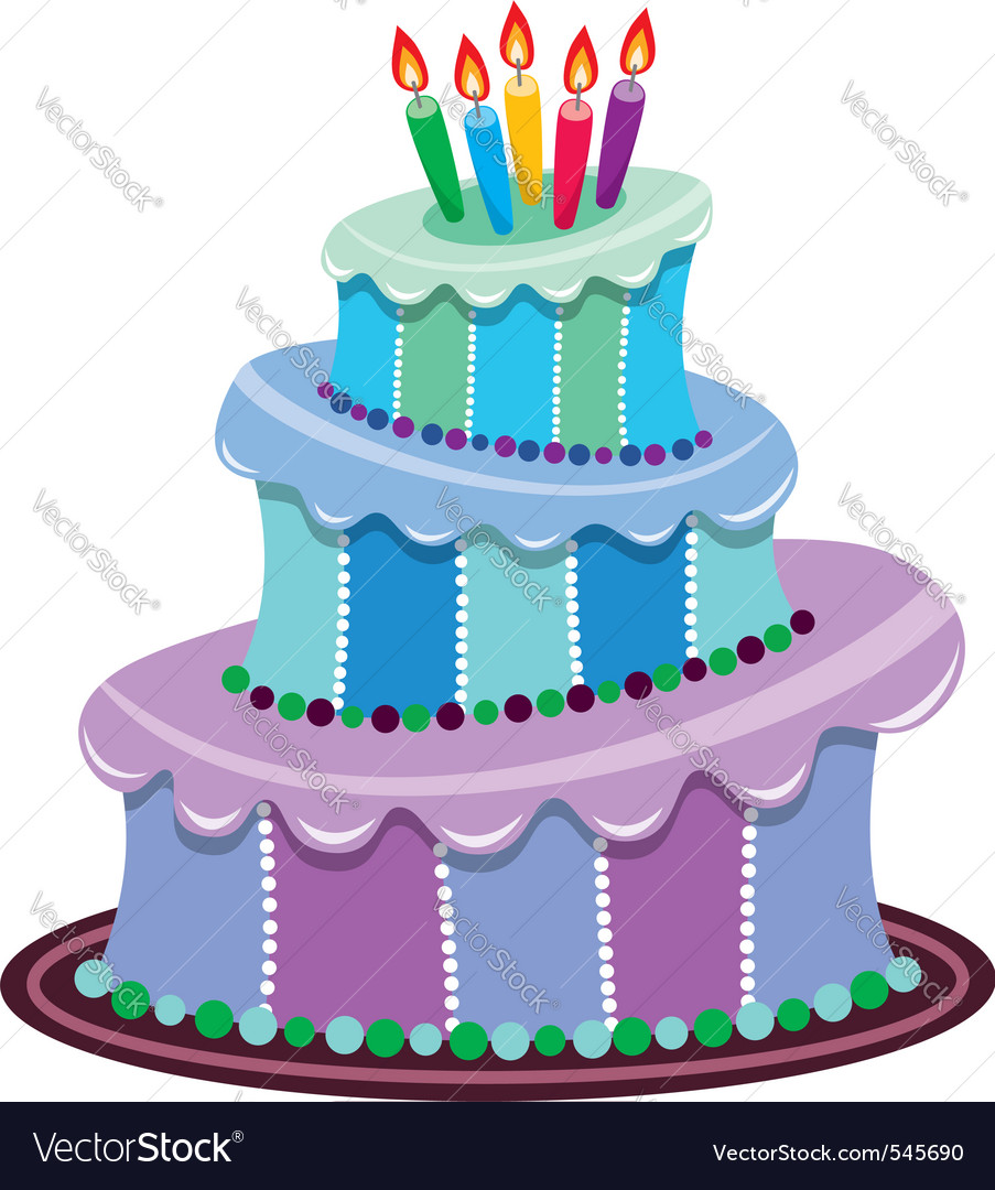 Big birthday cake Royalty Free Vector Image VectorStock