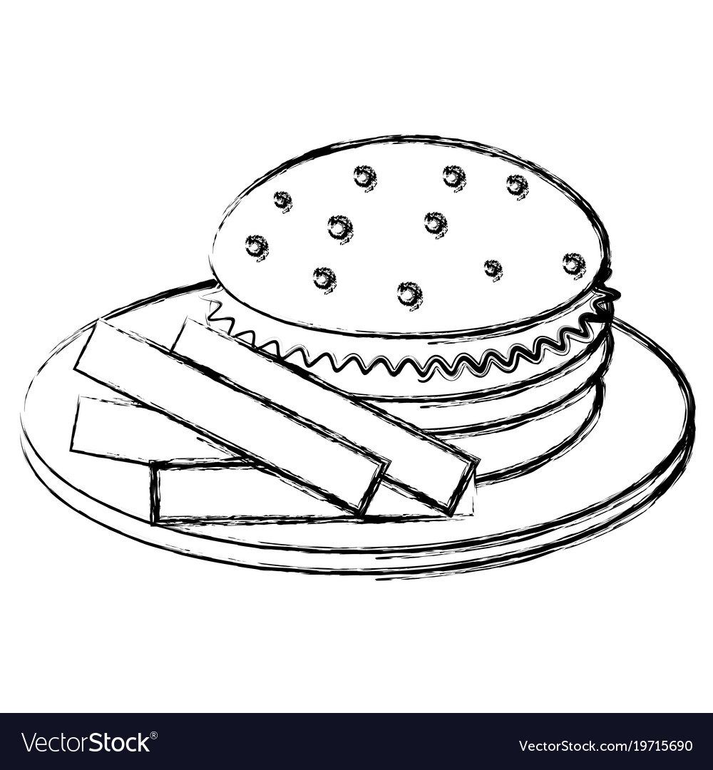 Dish with french fries and burger vector image