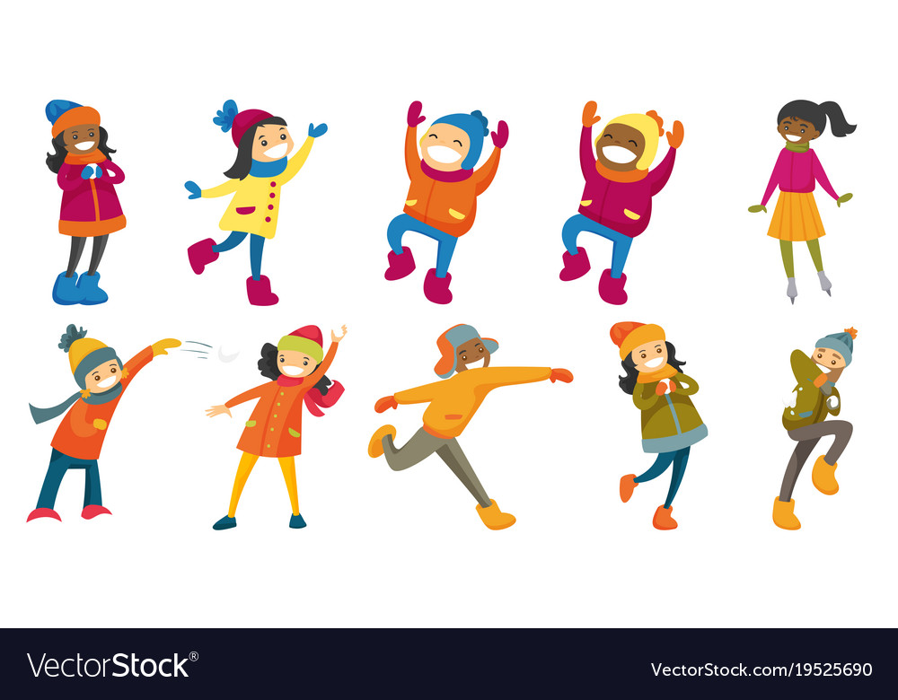 Multicultural people set vector image