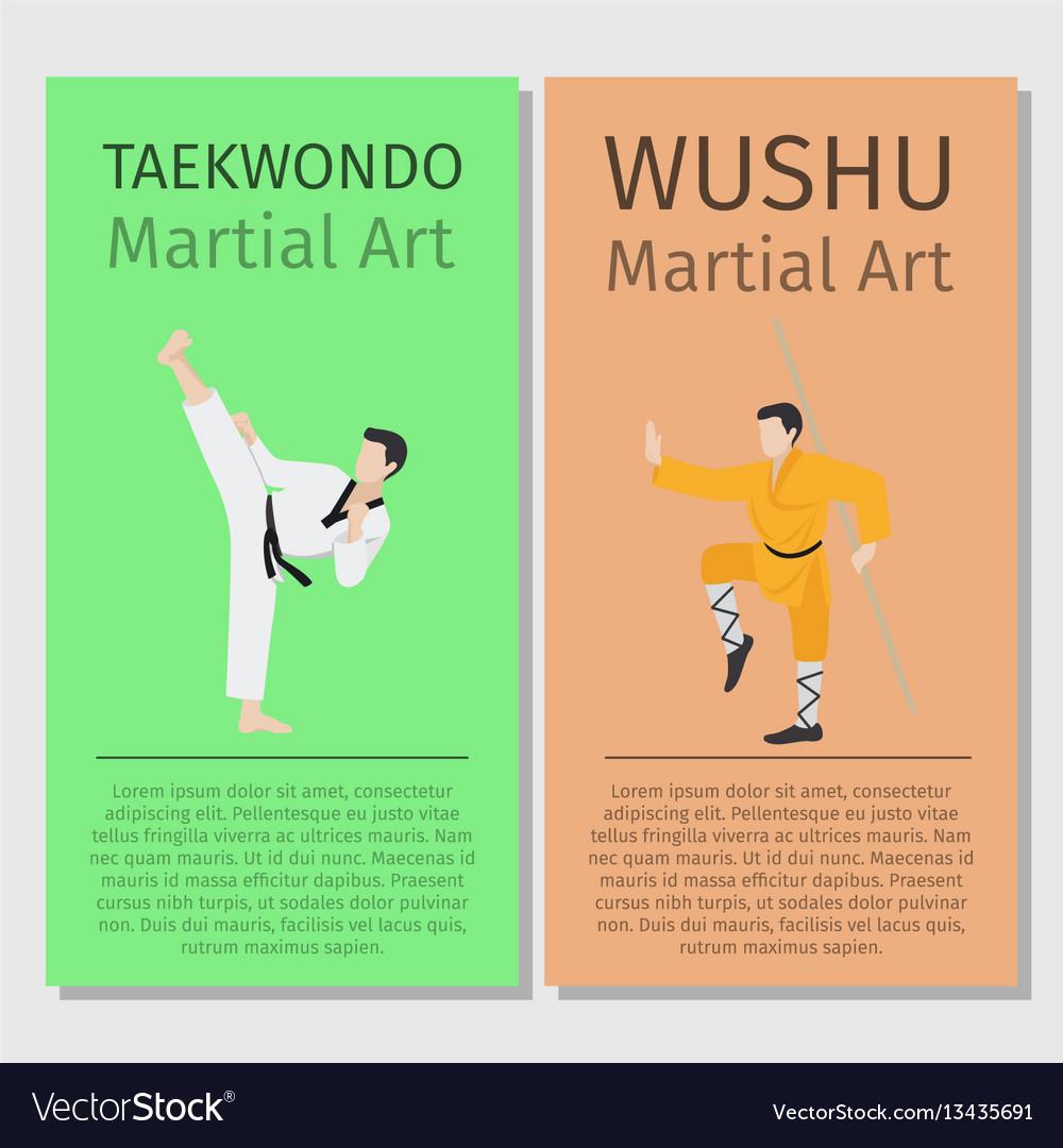 Asian martial arts taekwondo and wushu vector image