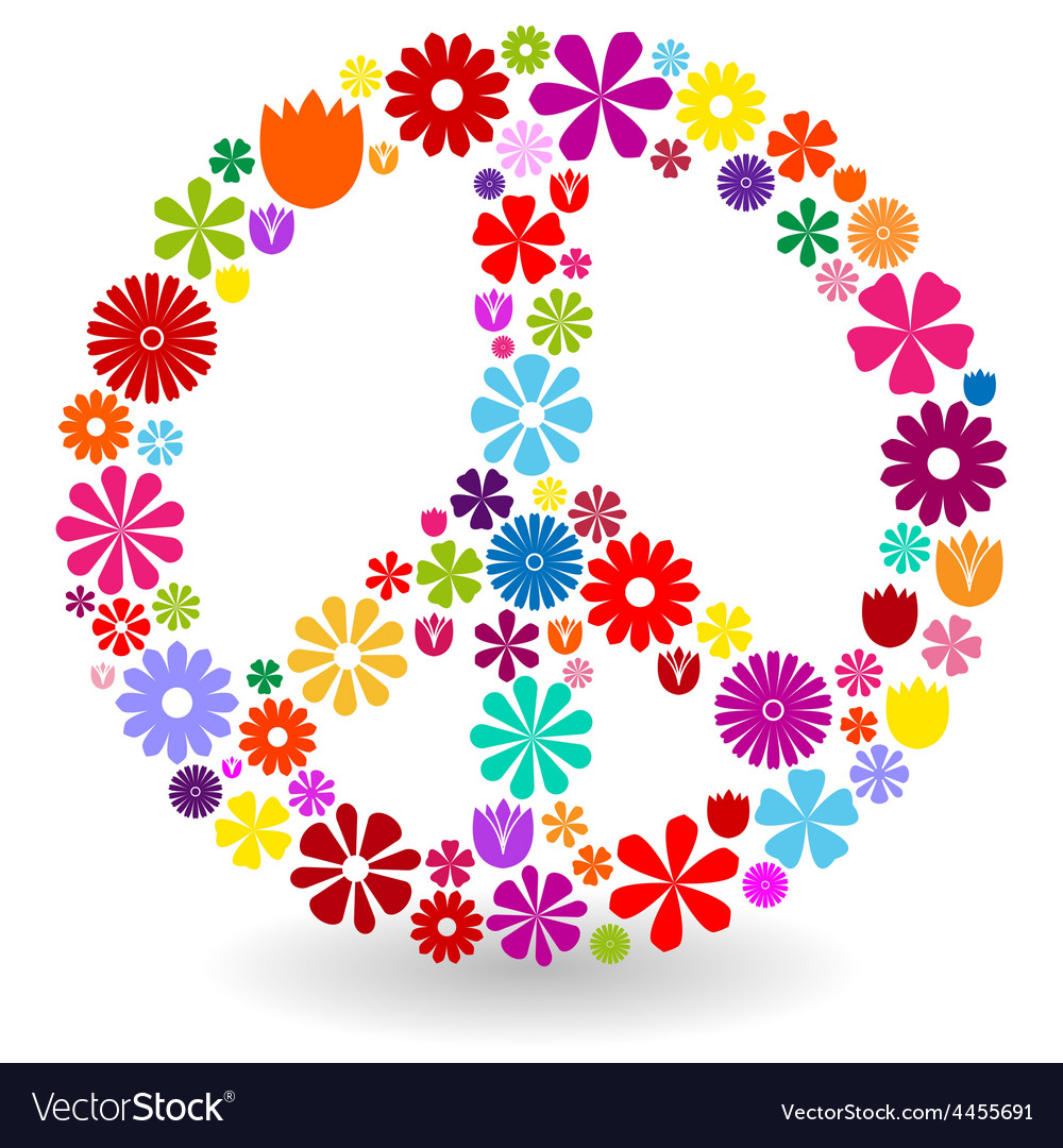Isolated peace symbol made with flowers royalty free vector peace sign made of flowers vector image buycottarizona