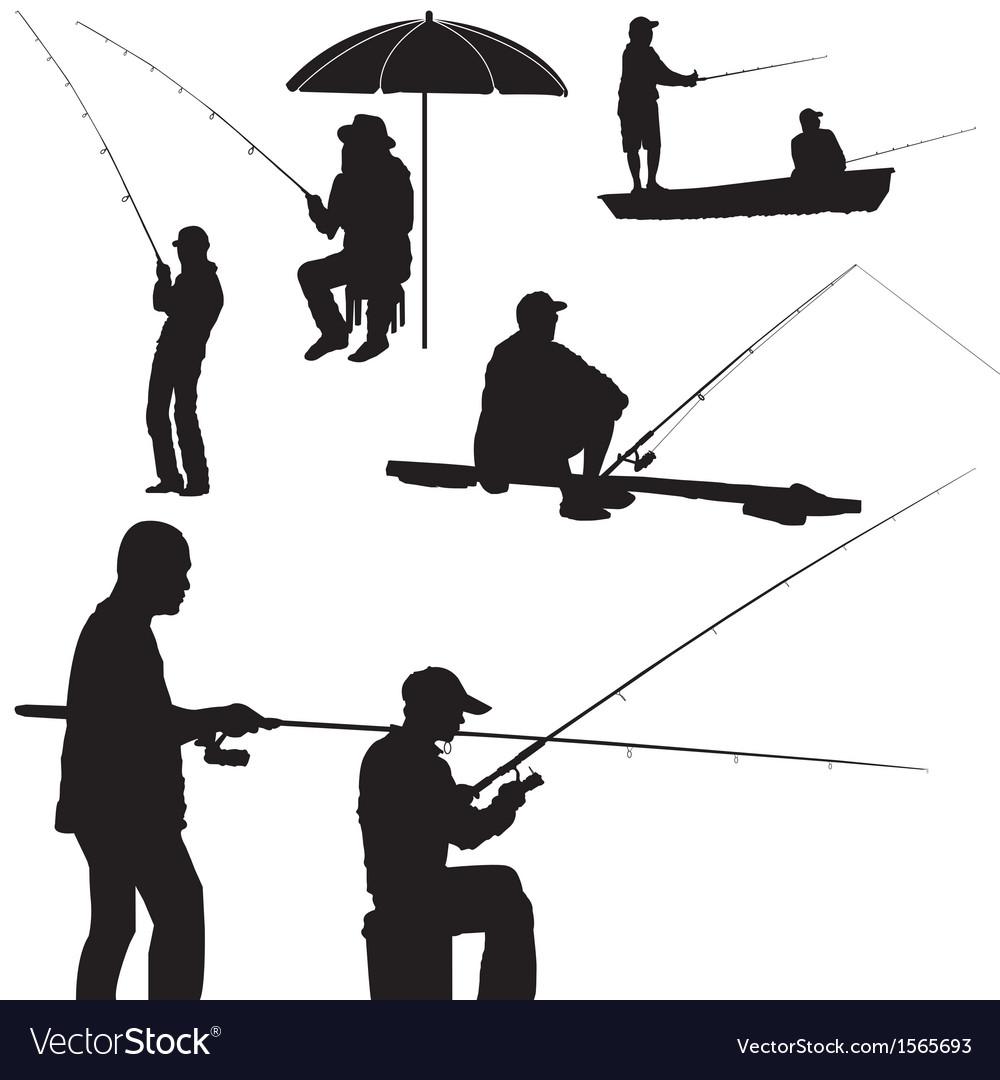 Fishing man silhouette vector image
