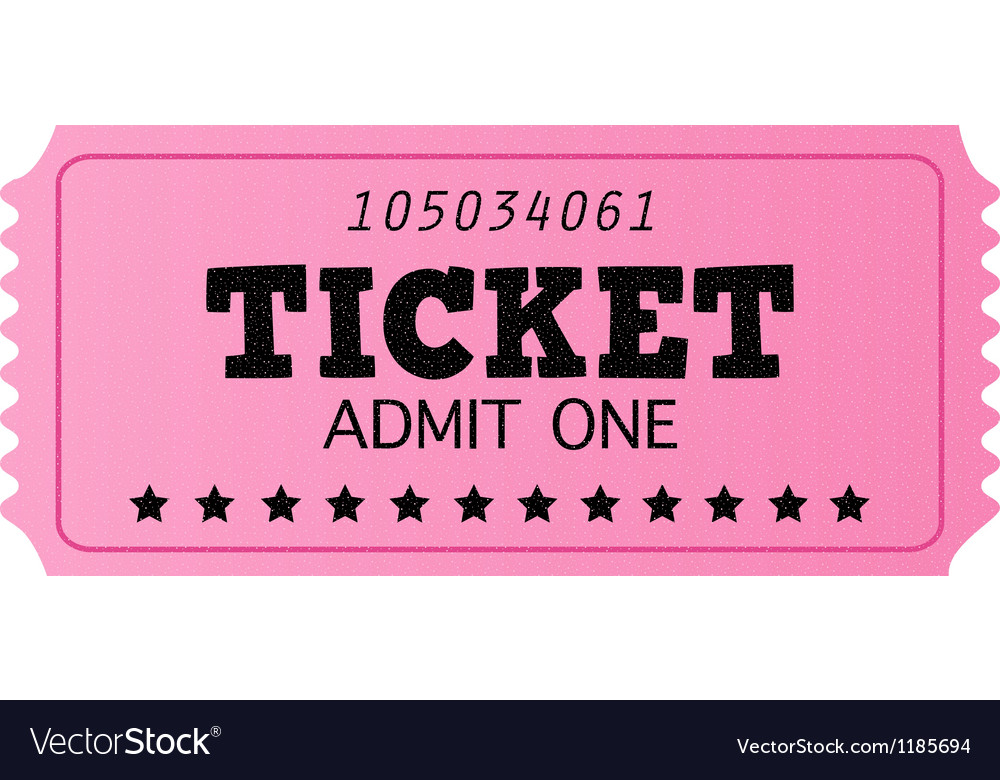 Pink cinema retro ticket isolated on white vector image