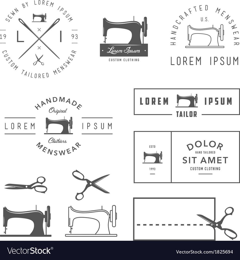 Set of vintage tailor design elements vector image