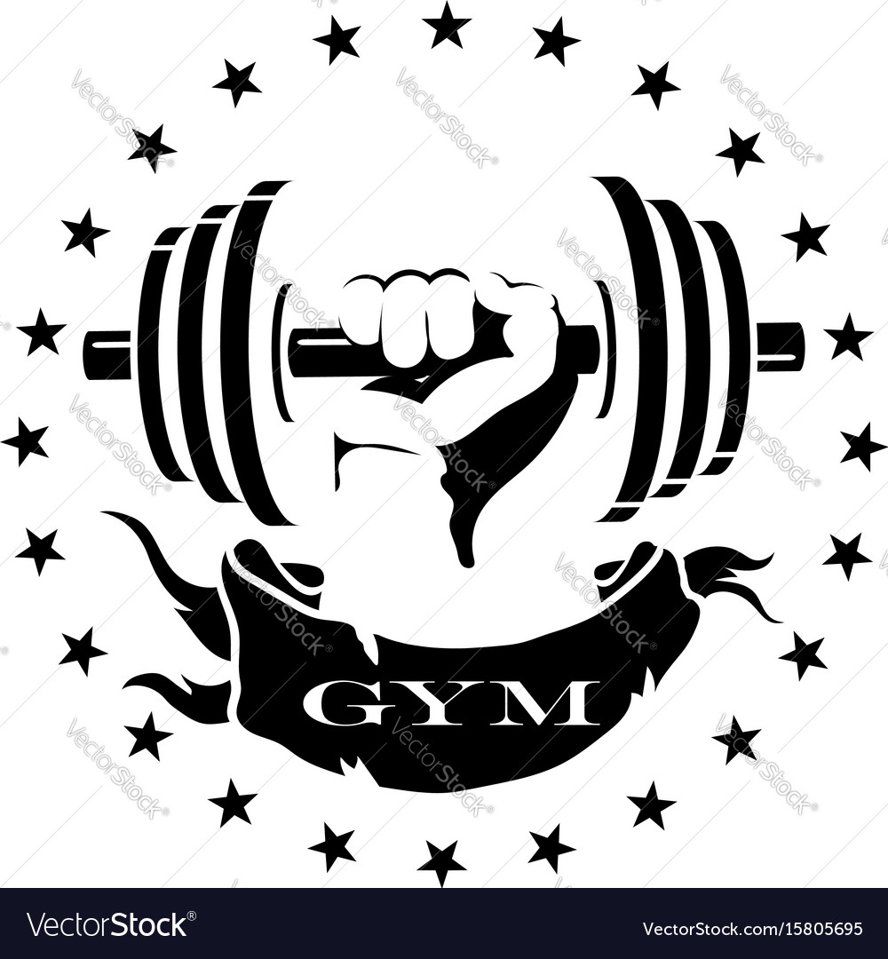 Dumbbell in hand silhouette vector image
