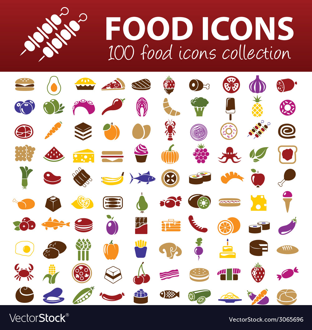 Hundred food icons vector image