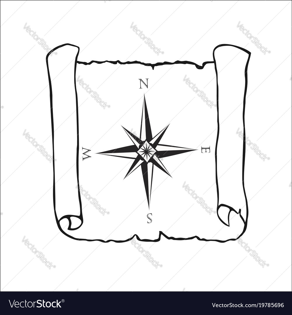 Map With Wind Rose Nautical Compass Vector Image