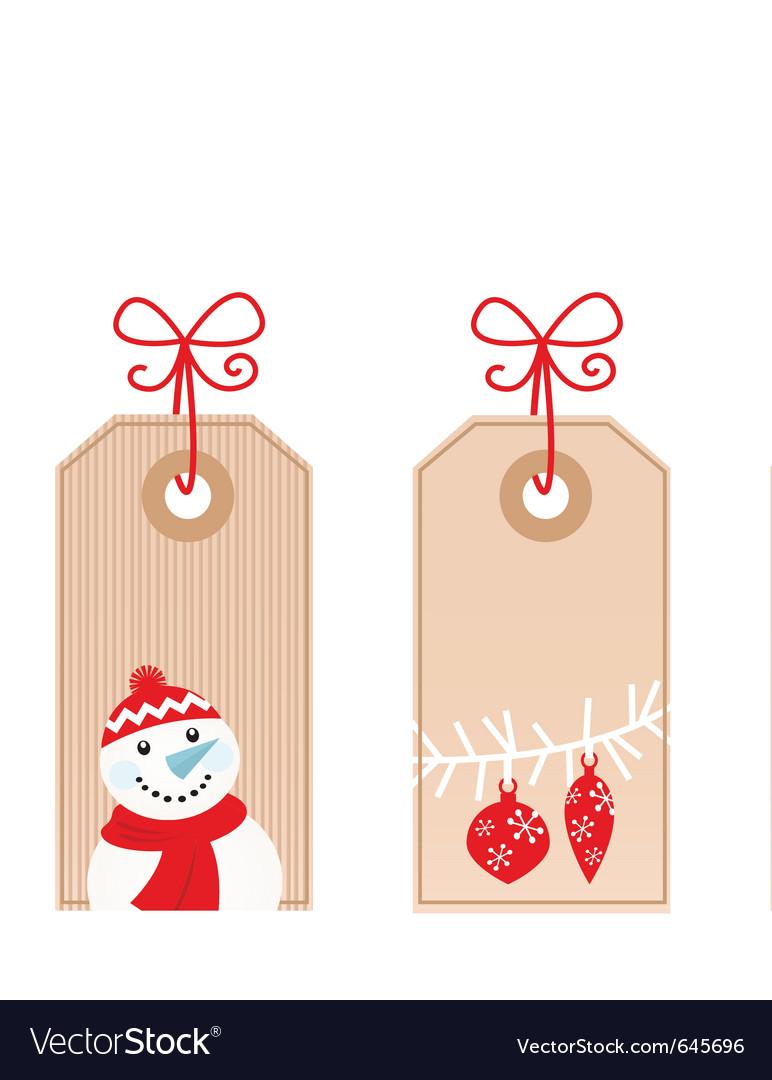 Retro christmas gift tags vector image