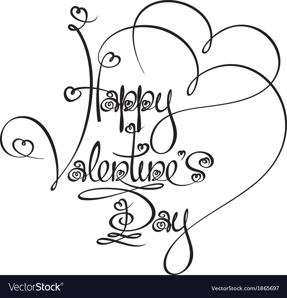 Caligraphic Text Happy Valentines Day vector image