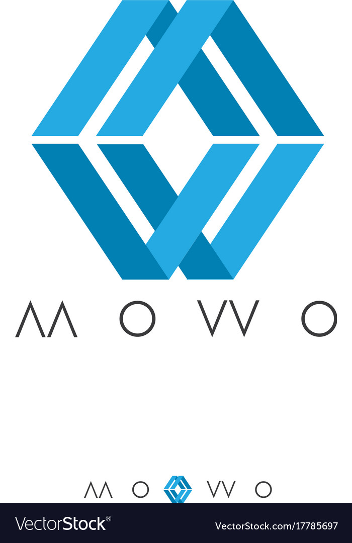 Abstract box logo with initial letter m and w Vector Image