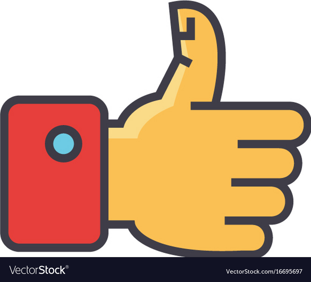 Thumbs up concept line icon editable vector image