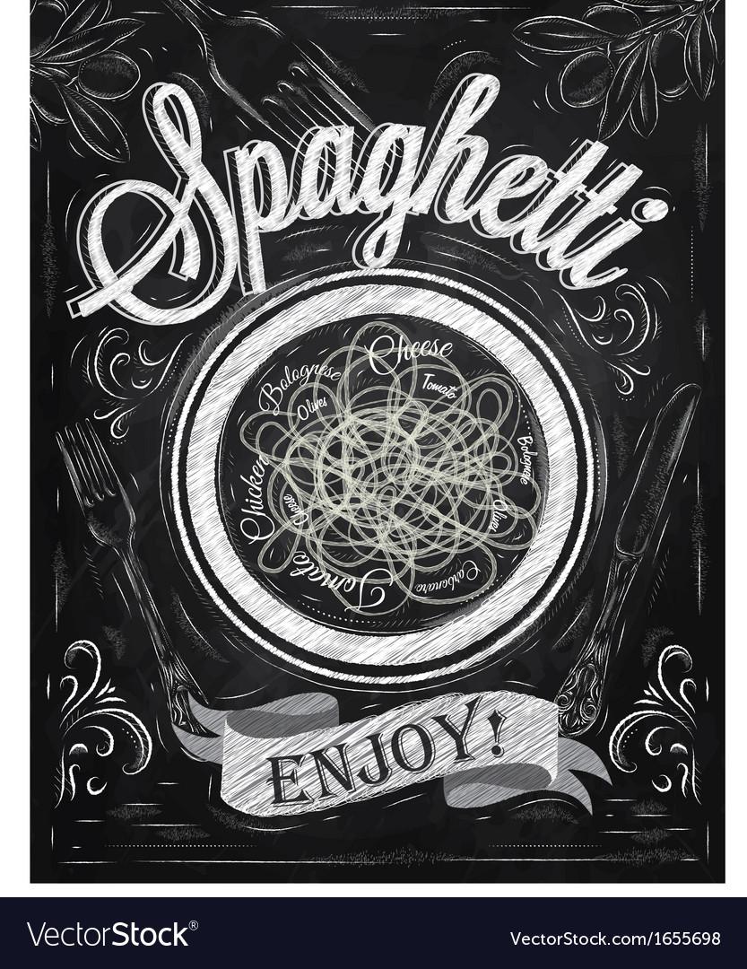 Spaghetti Poster chalk vector image