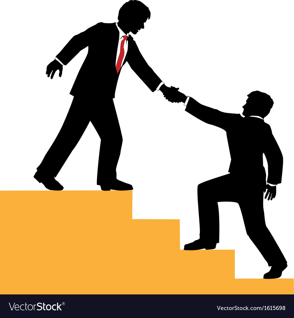 Business people help climb success vector image