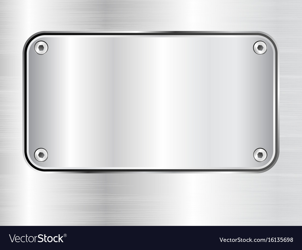 Metal plate background steel nameplate with vector image