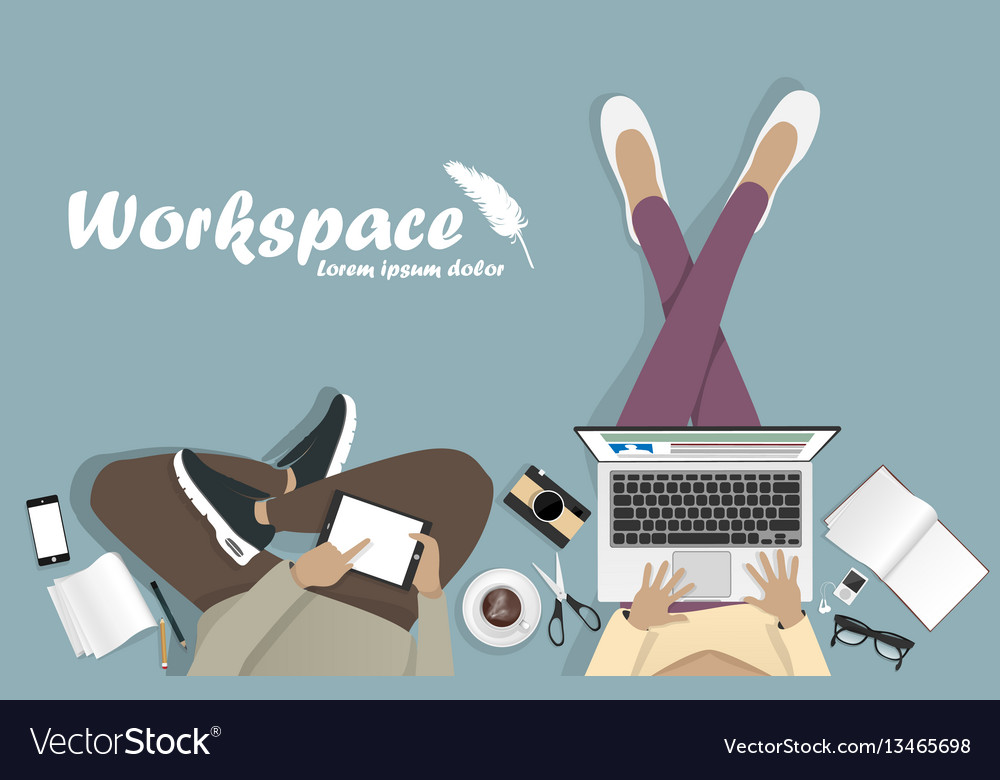 Workplace with man with laptop phone vector image