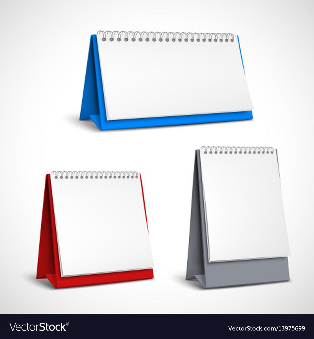 Blank table spiral calendars set vector image