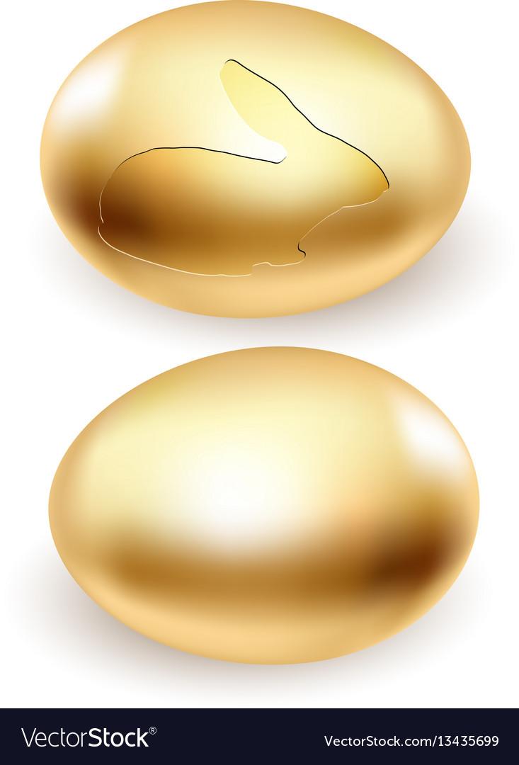 Golden rabbit egg vector image