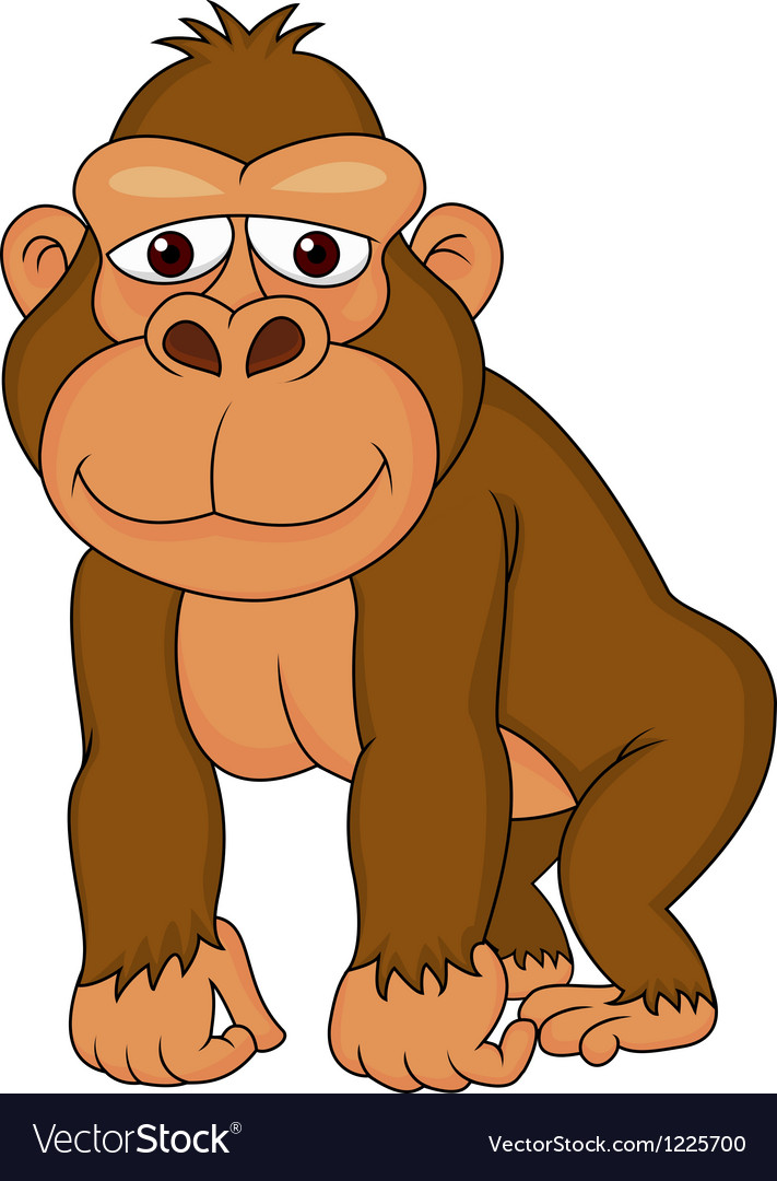 Cute gorilla cartoon Royalty Free Vector Image