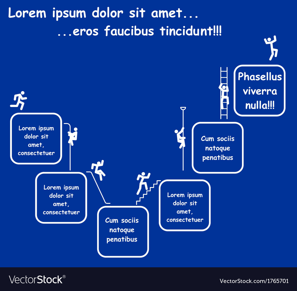 Business concept - icons of men stepping to succes vector image
