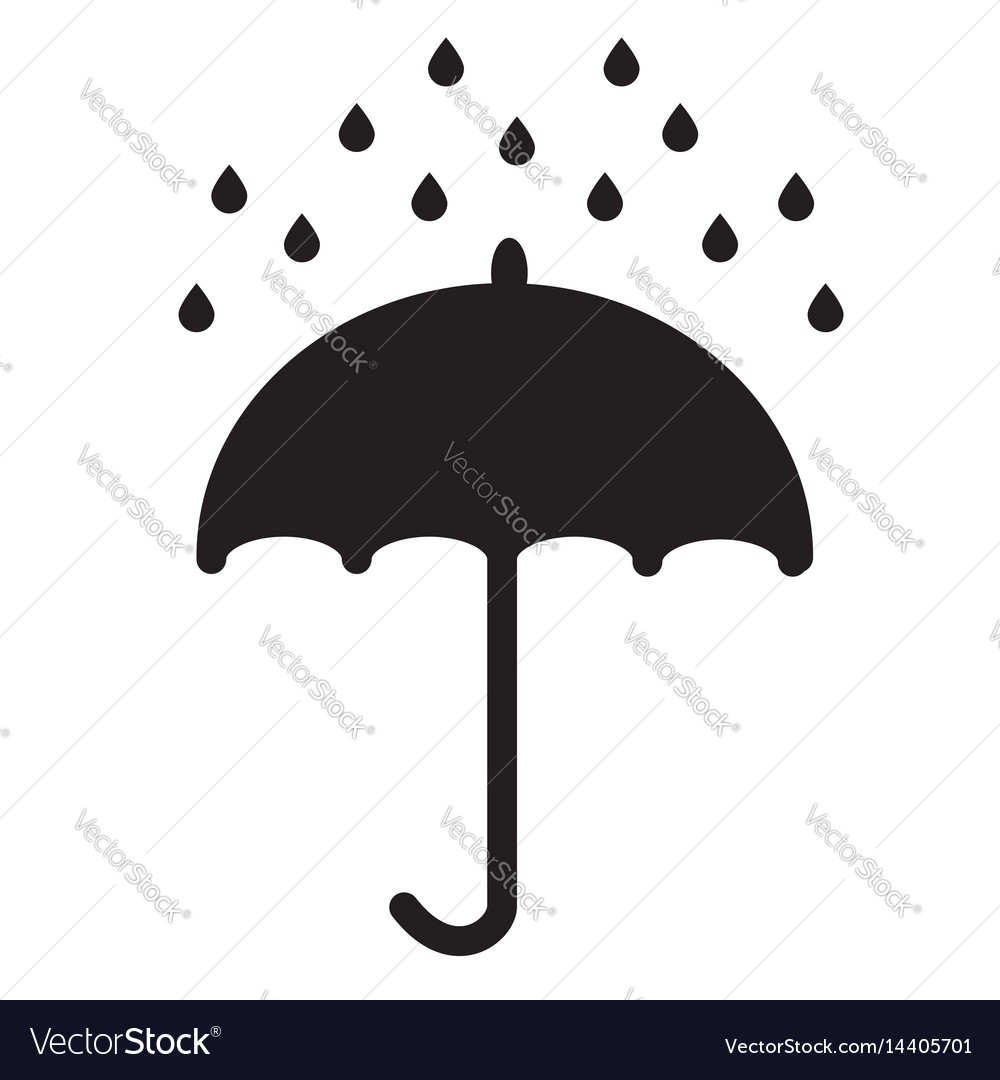 Umbrella and rain drops on white background vector image