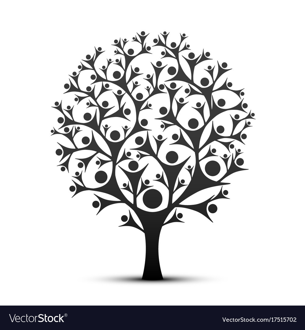 People tree sign color black vector image