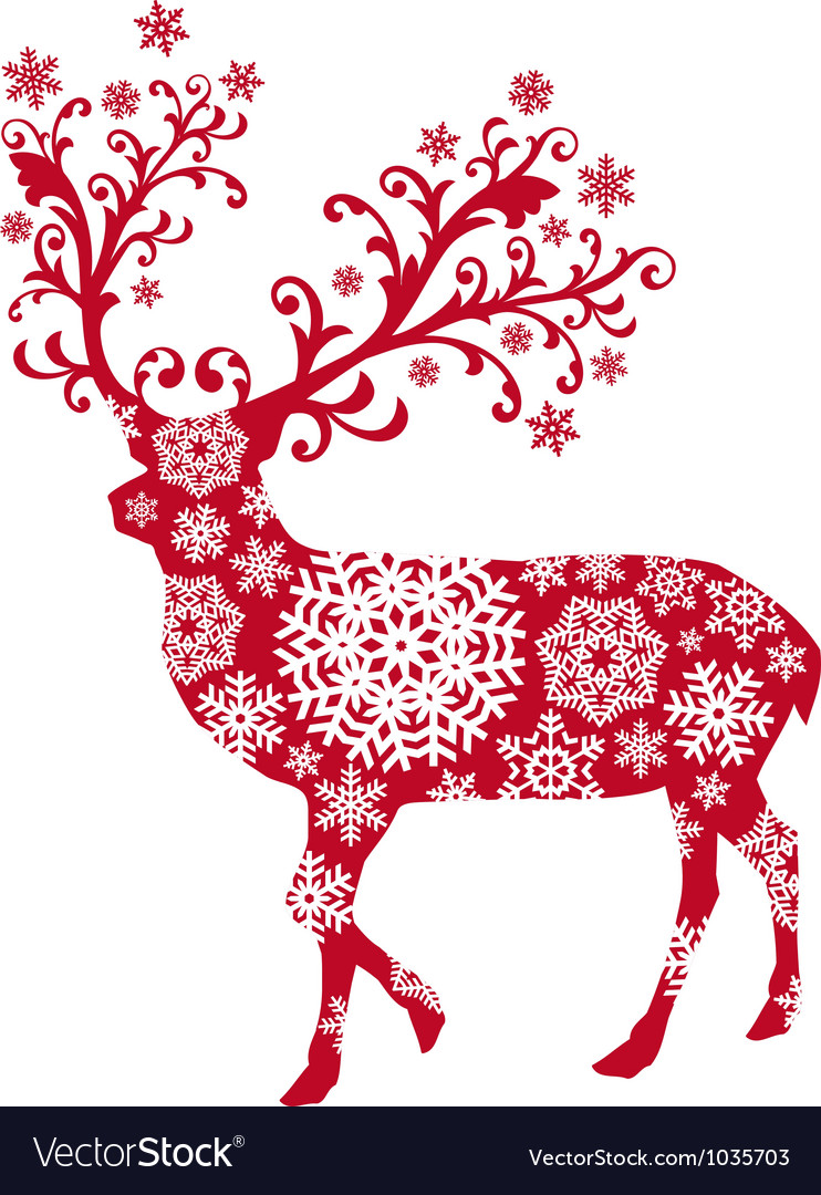 Christmas deer Royalty Free Vector Image  VectorStock