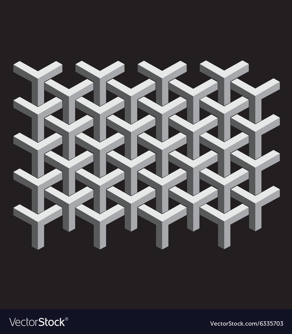 Interlocking 3d cubes vector image