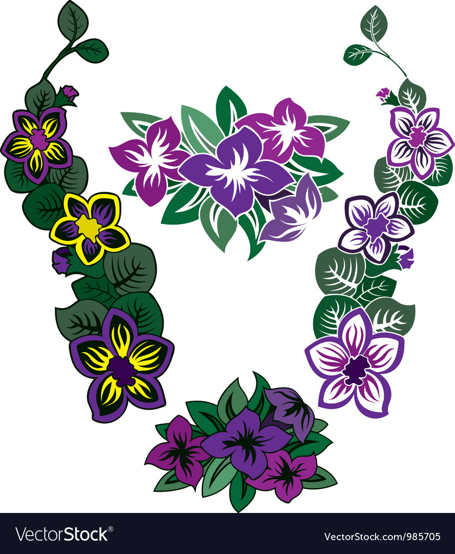 Colored flower stencil vector image