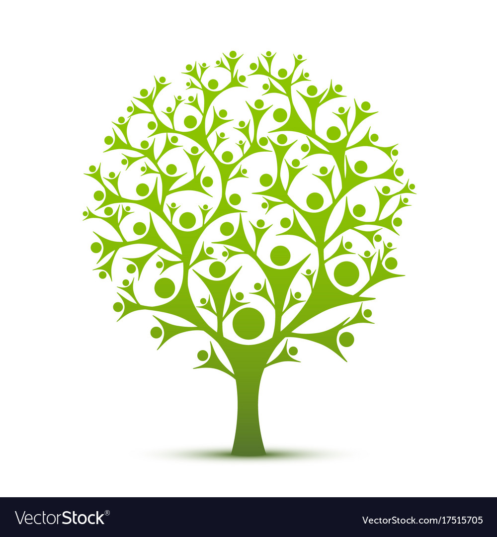 People tree sign color green Royalty Free Vector Image