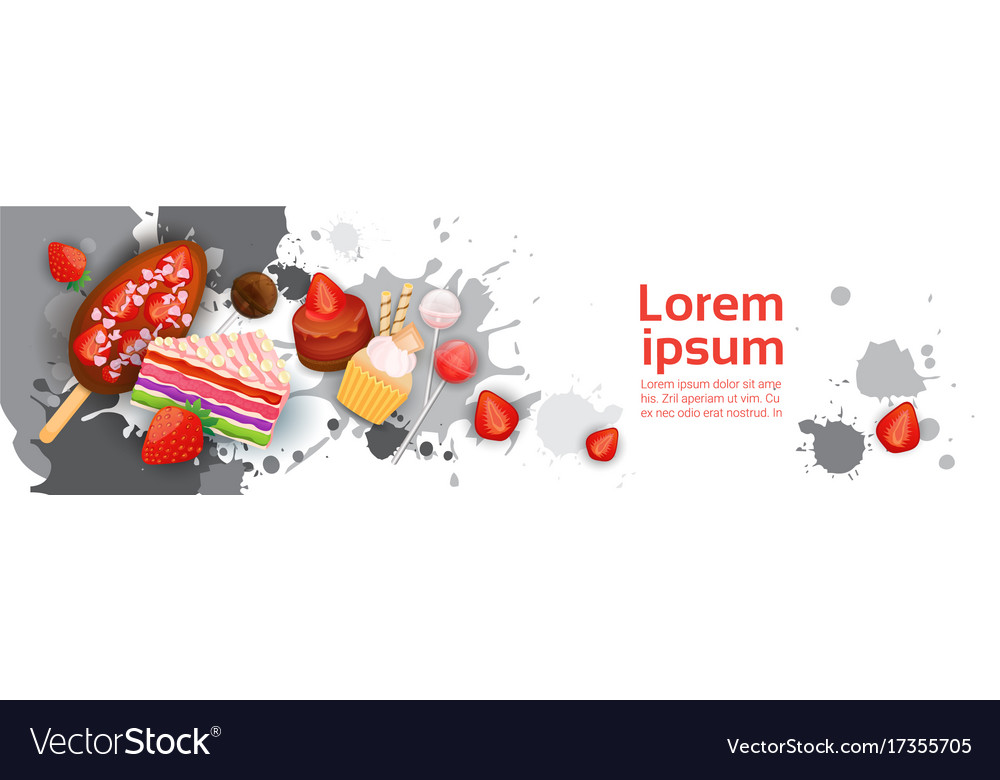Sweets set different dessert colorful poster vector image