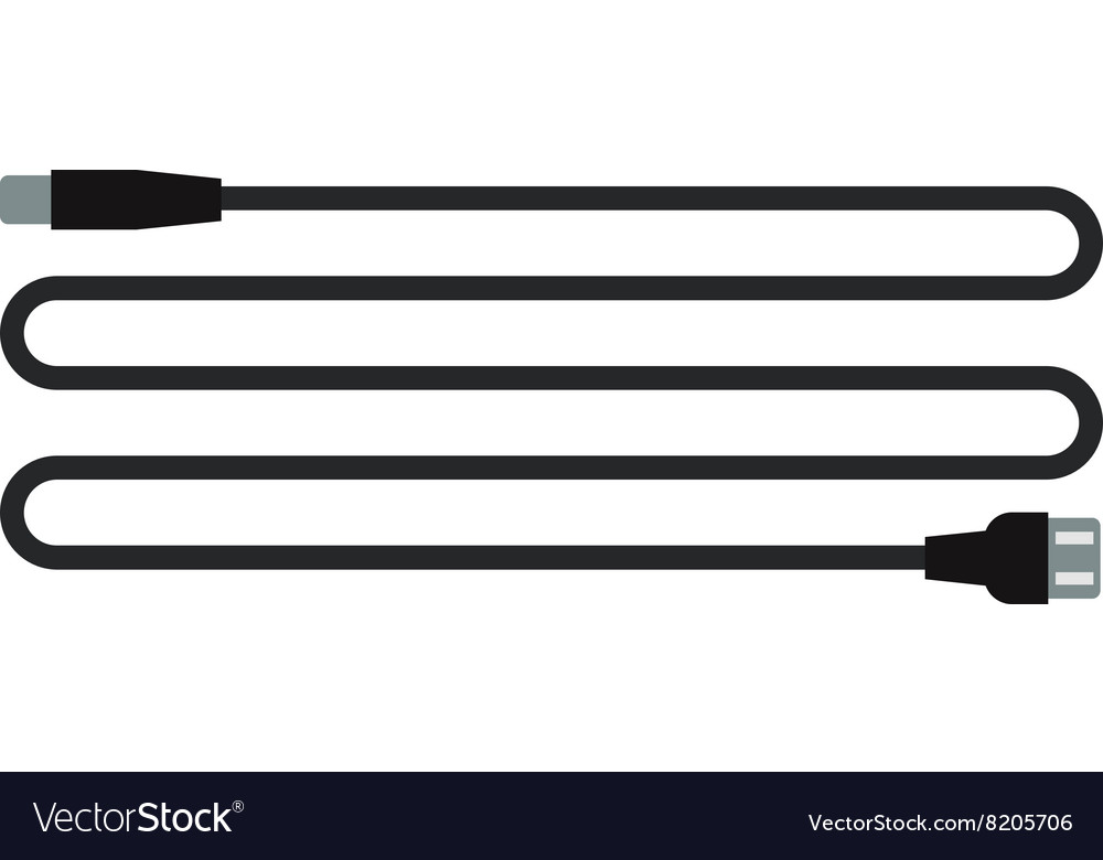 Cable wire computer usb plug connection technology vector image