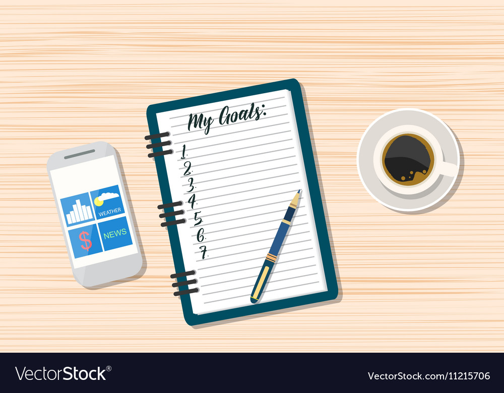 Coffee And Blank Memo With Smartphone Royalty Free Vector