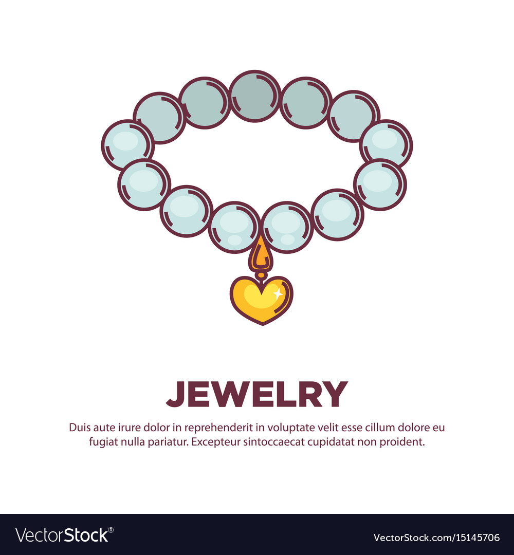 Jewelry pearl necklace with golden heart pendant vector image