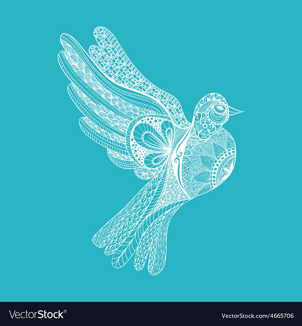 Zentangle stylized floral Pigeon for Peace Day vector image