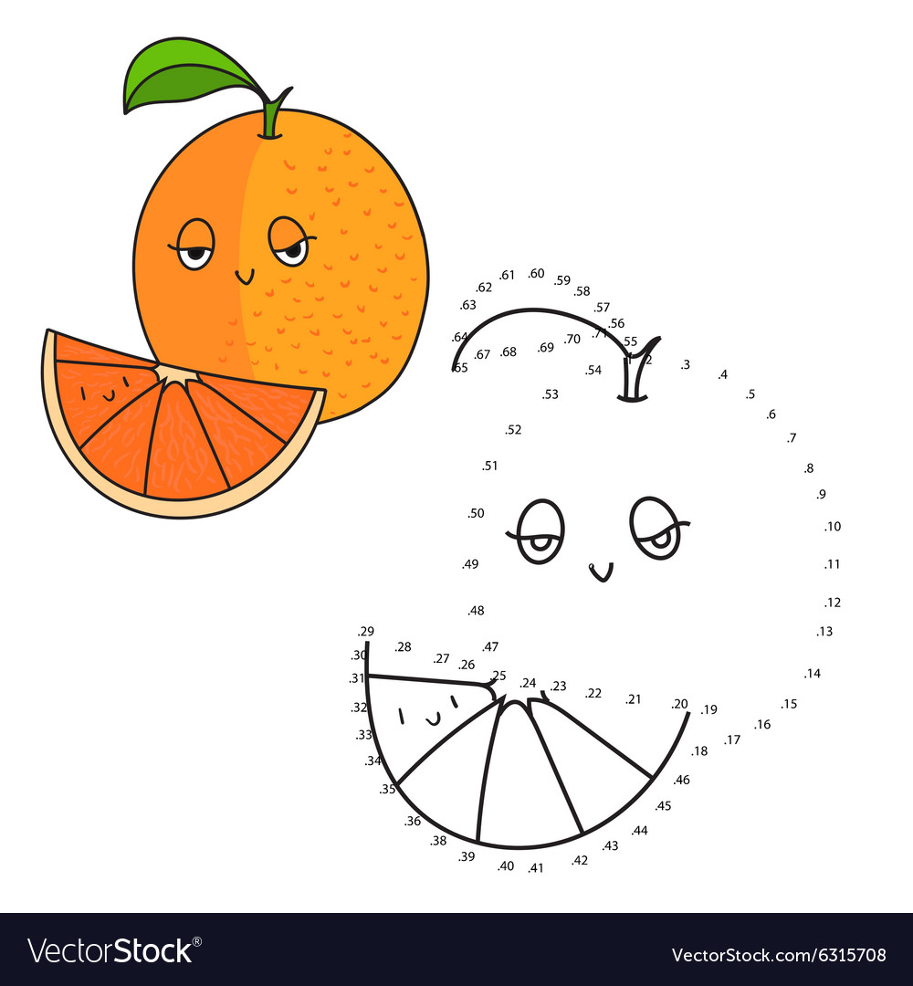 educational game connect dots draw orange vector image