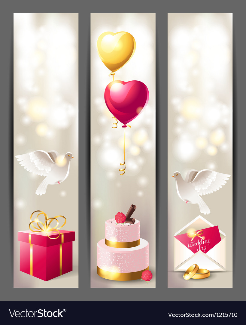 Wedding vertical banners vector image