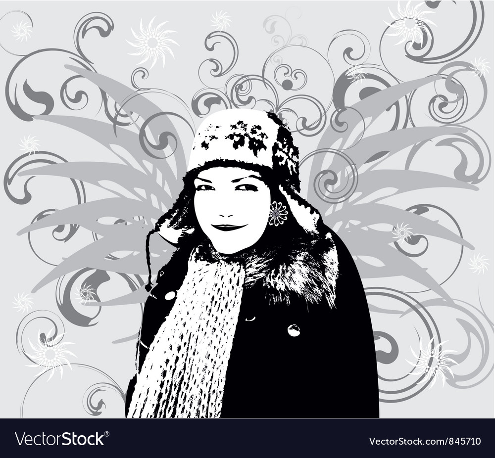 Girl Winter background vector image