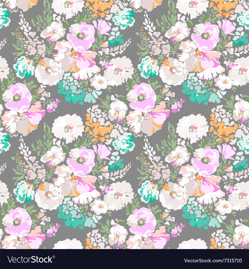 Soft flowers seamless background vector image