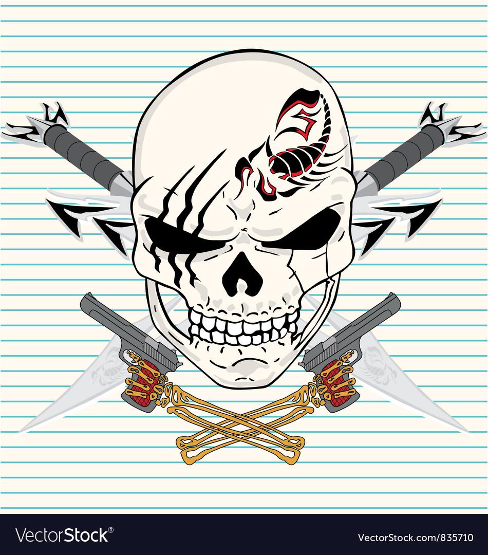 Sword skull gun vector image
