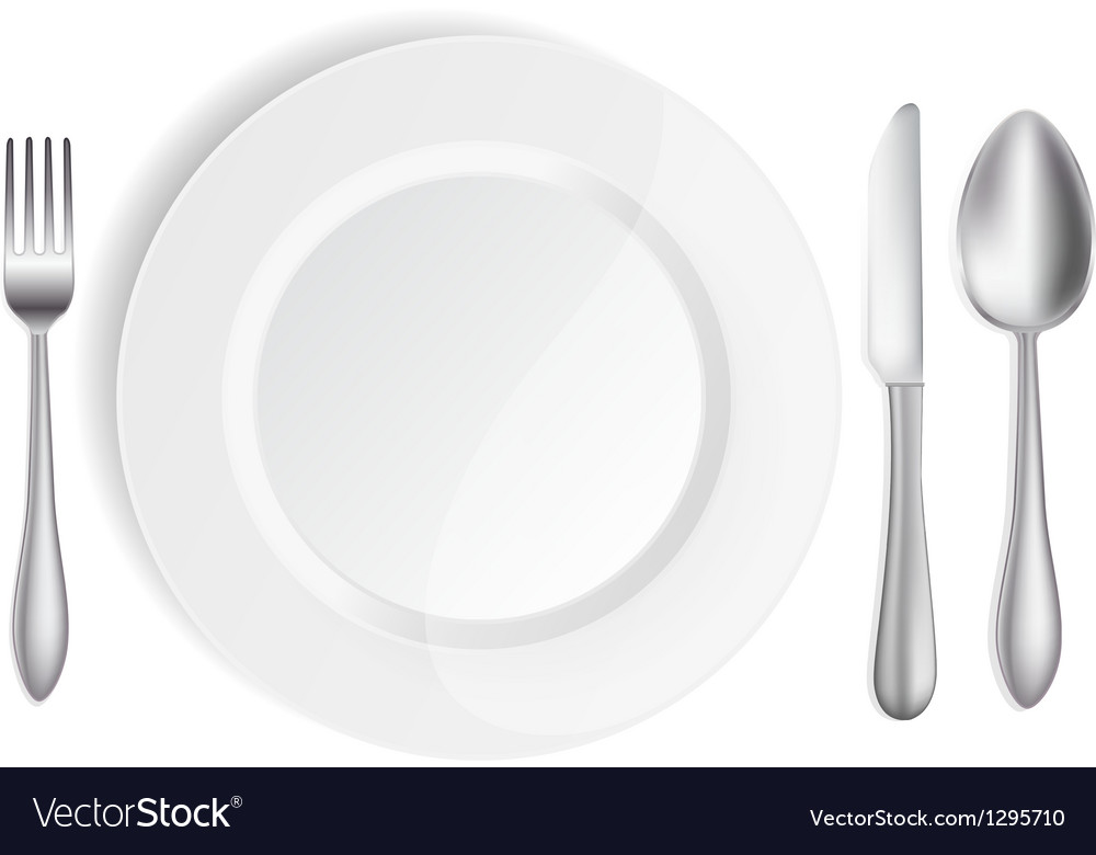 White plate with knife spoon and fork vector image