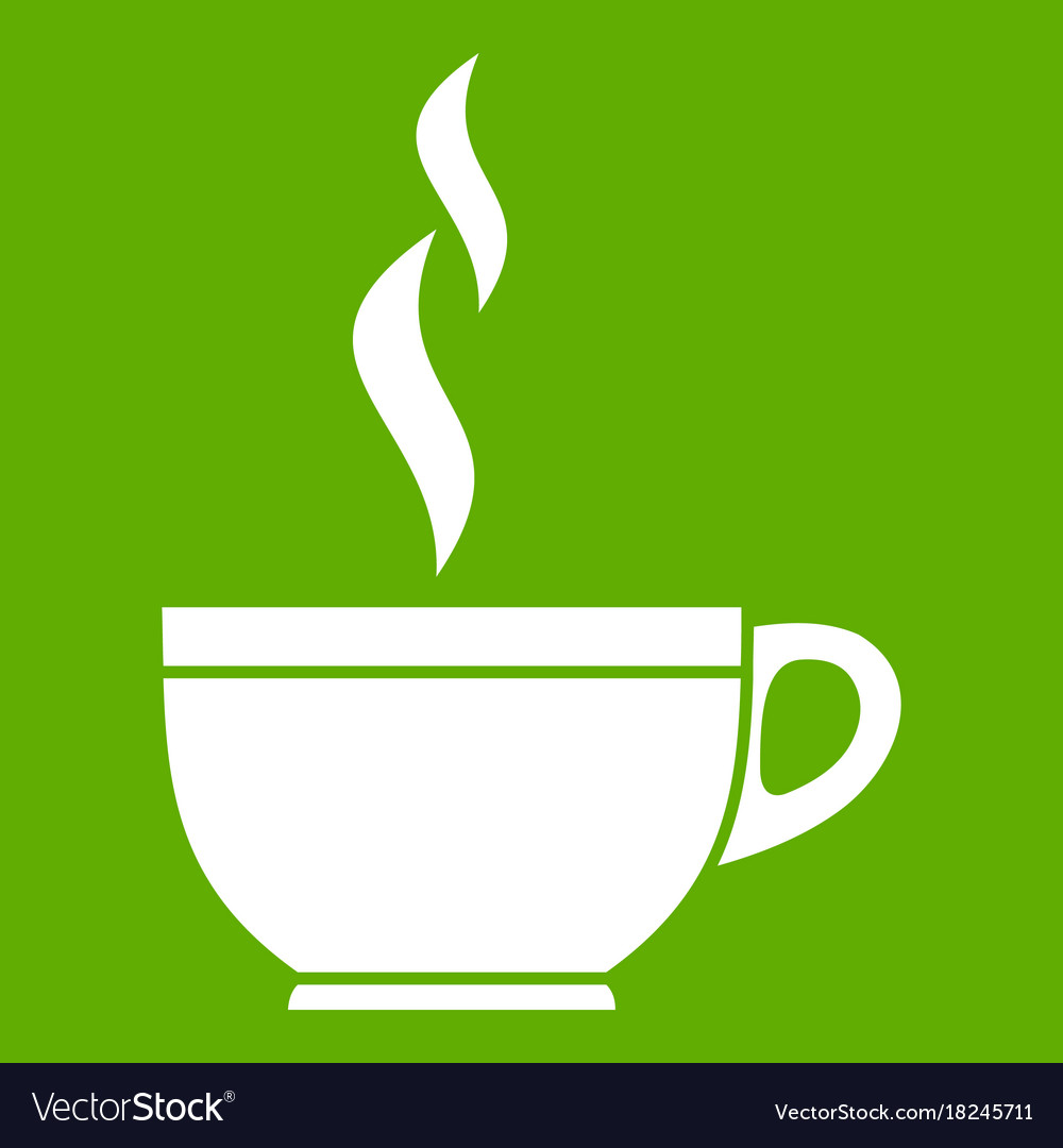 Glass cup of tea icon green vector image