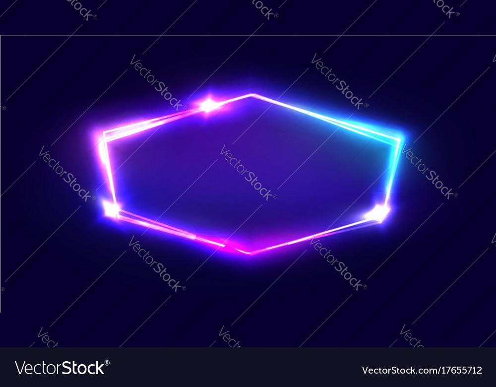 Night club neon sign blank retro light signboard vector image