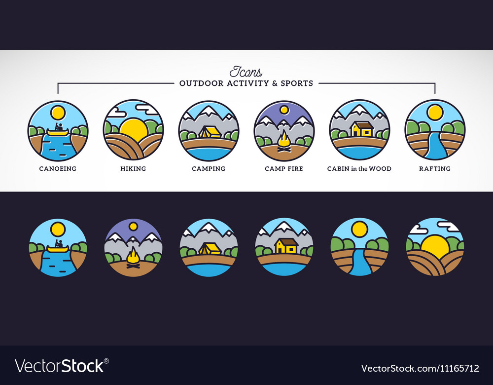 Outdoor Activity and Sports Line Style vector image